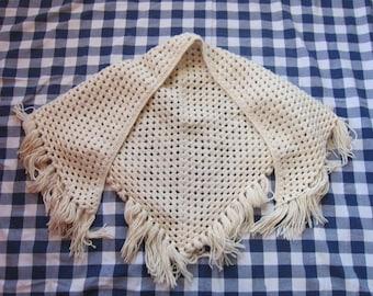 Handmade Cream Wool Blend Shawl, Hand Knit / Crochet, Hippie Craft, Winter Warm Fringe