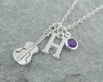 Violin necklace, personalized jewelry, swarovski birthstone, music jewelry, initial necklace, gift for violin player, musical instrument