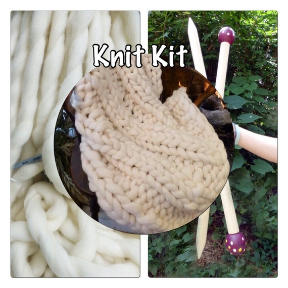 "KNIT KIT, Jumbo Yarn, DIY,Chunky Blanket, 24"" Giant Needles, 5# Chunky Yarn, Tutorial, Patterns,"