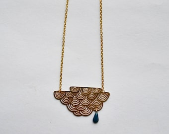 Necklace drop gold plated cloud blue glazed