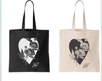 black heart floral canvas tote bag