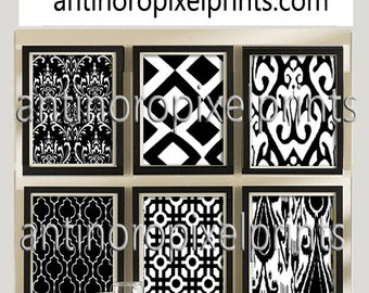 Black White Ikat Prints, Set of (6) Wall Art Prints, Custom Colors Sizes Available (Unframed)