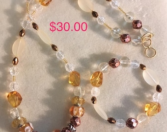 Yellow Glass Beads, faux Bronze Spacer Beads, clear & opaque seed beads, Gold Findings Beaded Necklace, Beaded Bracelet, Beaded Earrings Set