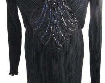 Vintage Evening Dress by Nuit in Black 'Scrunch' Fabric with Beaded Accent Piece in Front Center - Fits Size Medium (US Sz 10)