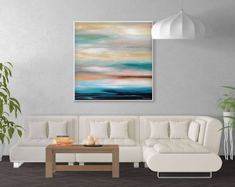 Coastal Painting, Large Abstract Seascape Art, Blue Artwork, Blue Gray Seascape Painting, Modern Wall Art, Giclee Print, Large Canvas Print