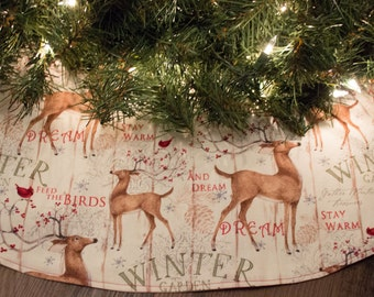 Christmas Tree Skirt-Deer-Winter-Snow-Cardinal-Bird-Holiday Decor-Christmas Decoration-Cardinals-Birds