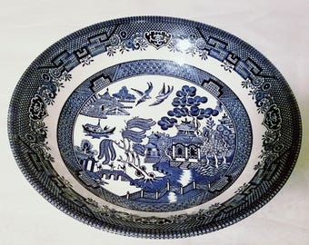 Vintage Blue Willow Serving Bowl, Blue and White China, Churchill England, Chinoiserie Vegetable Bowl 8 Inches