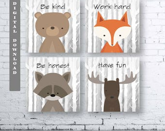 Square WOODLAND Animals Wall Art Print-Set of Four (4) - Digital Download. Woodland Creatures Wall Art Printable. Classroom Woodland Quote.