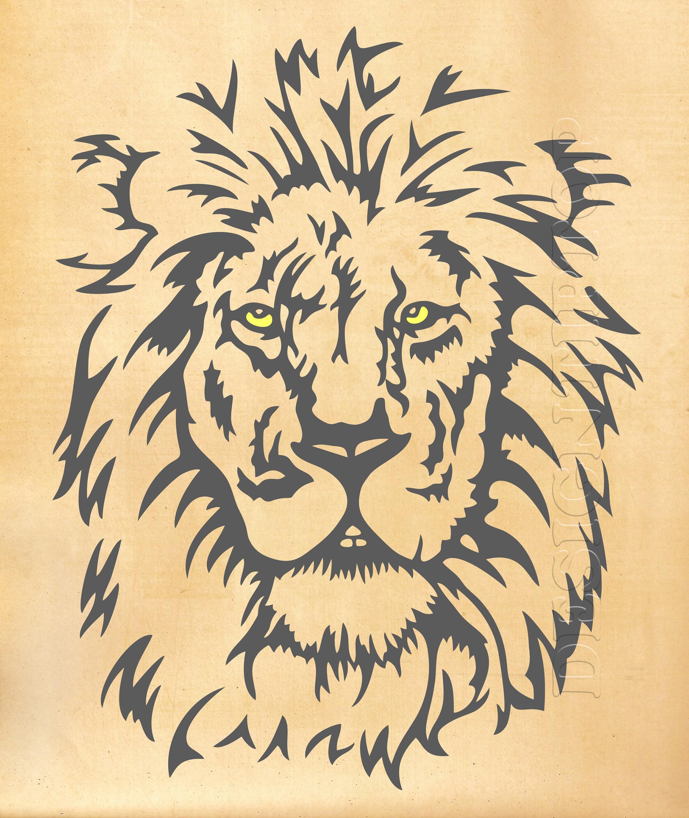 König der Löwen SVG DXF Löwe Löwe Tattoo Löwe-t-Shirt Löwe