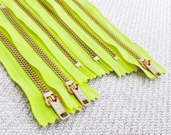 5inch - Neon Yellow Metal Zipper - Gold Teeth - 6pcs