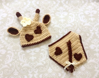 """Crochet baby set, size 0-3mos - Beanie and Diaper Cover """"Giraffe"""" - an adorable baby photo prop or outfit, made to order"""