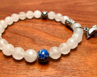 Crystal Glass in 8mm w/ Lapis and Silver Dolphin Charm