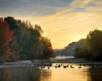 Early Autumn on Lake - Photographic Print