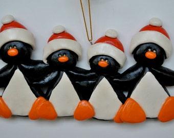 RETIRING DESIGN...Personalized Christmas Penguin Family of Four Ornament/Penguins/ family