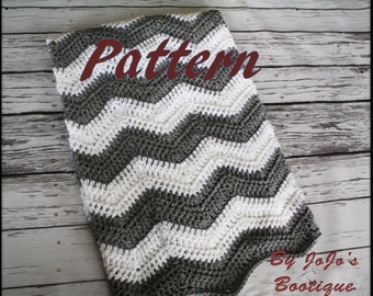 PDF Pattern - Chevron Baby Blanket, Instant Download Pattern, Crochet Chevron Striped Blanket, Zig Zag Blanket - by JoJo's Bootique