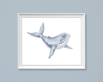 whale art, kids room decor, nautical nursery art, ocean art