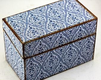 Wood Recipe Box Blue Retro Fits 4x6 Recipe Cards