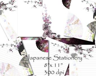 Japanese Sakura Girl Stationery Paper Printable Stationary Paper Writing Paper digital Sakura paper Template Cherry Blossom