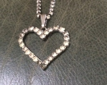 Vintage Heart Necklace, Rhinestone Neckace, Rhinestone Heart Jewelry, Heart Necklace