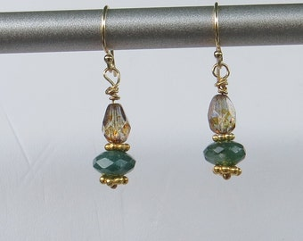 Moss Agate and Swarovski Crystal Earrings