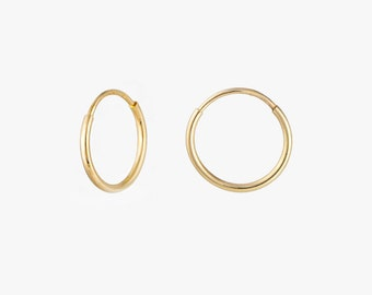 Small hoops, Solid Gold Hoops, 14K Hoops Earrings, Mini Hoops, Second hole earrings, round hoops