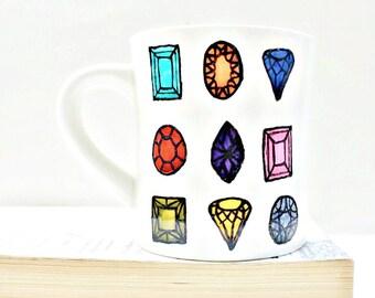 Bejeweled Mug coffee tea cup diner mug rainbow gem hand painted bling jewels treasure