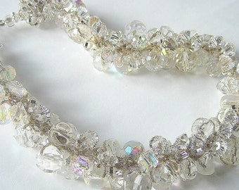 Chunky Sparkling Rock Crystal Ice Glam Statement Bridal Wedding Choker, New Years Eve, Cluster  Necklace,   exclusive on Sereba     Designs