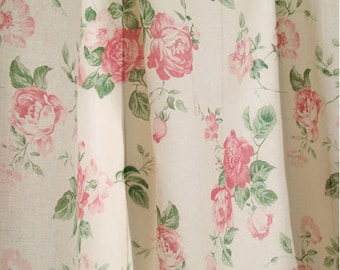 """Cotton Fabric Country Rose Big by the yards 44"""" Cozy Country Rose Big"""