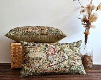 Oil Green Tapestry Pillow Cover - Lumbar Pillow Cover - Decorative Throw Pillow Covers