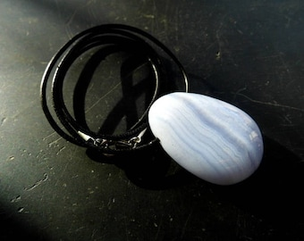 Pendant, chain, Chalcedon, drop, leather strap, light blue, jewelry