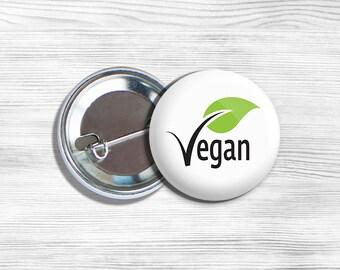 """Vegan Vegetarian """"Vegan"""" Pinback Button Pin 1.75"""" White With Leaf"""