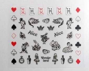 Alice in wonderland / Nail Art Decals / Nail Art Decal Sticker Set /Nail Polish Stickers/ Nail Polish Planner Stickers