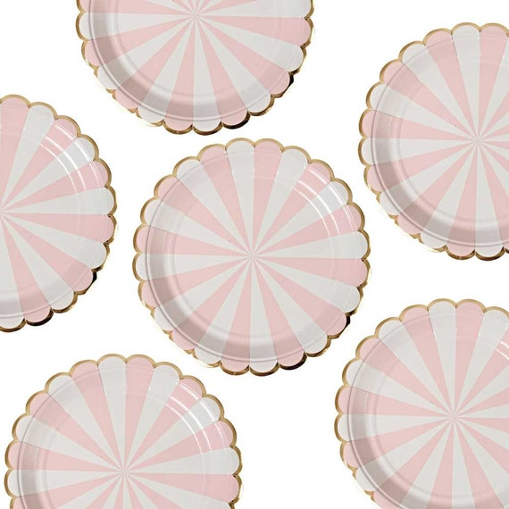 Pink Plates Large Meri Meri Gold \u0026 Pink Paper Plates Valentine Party Plate Girl Birthday Plates Toot Sweet Plates Blush Pink Decor from CrankyCakesShop ...  sc 1 st  Etsy Studio & Pink Plates Large Meri Meri Gold \u0026 Pink Paper Plates Valentine ...