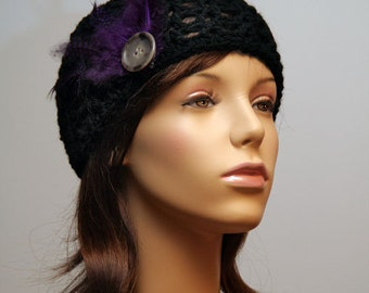 Black Hat/ with Purple Feathers