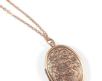 Locket Necklace, Picture Locket Necklace, Copper Necklace, In Loving Memory Jewelry, Memorial Jewelry, Keepsake Jewelry, Remembrance Gifts