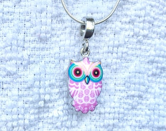 "A cute enamel owl necklace in summer colours. ""Tropical Owl necklace""."