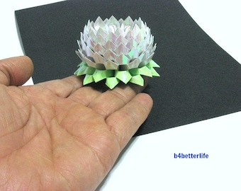 A piece of Small Size White Color Origami Lotus. (AV paper series). #FLT-158.