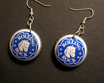 Recycled Beer Bottle Cap Earrings, Rolling Rock