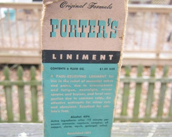 Porter's Liniment Bottle And Original Box, Prepared Only By The George H. Rundle Co. In Piqua, Ohio, Contents 6 Fluid Oz. Medicine Bottle