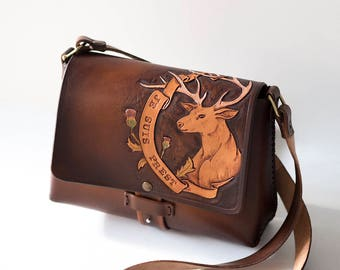 Outlander Leather Bag - Je Suis Prest - Outlander quotes - Clan Fraser
