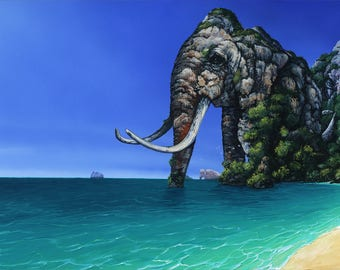 RW2 Signed Limited Edition Print Elephant Art Surrealism Migration of Mountains by Robert Walker
