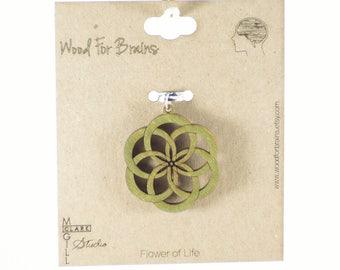 Flower of Love Laser Cut Wooden Pendant