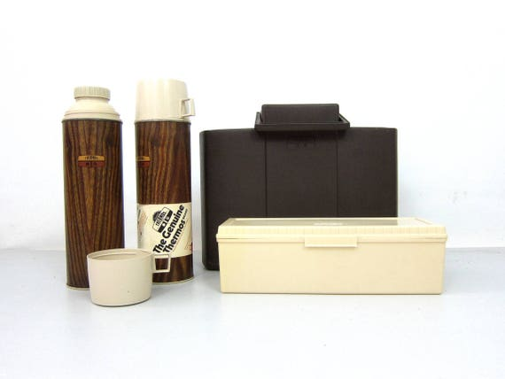 Vintage Thermos King Portable cooler Seely Twin Lunch Set in Brown Plastic Case Tailgate Picnics Camping Thermos and Lunchbox