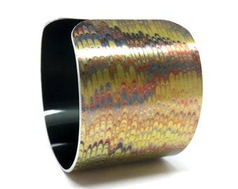 Antique Paper Bangle - Gold and Black Cuff Bracelet - Aluminum Cuff Bracelet - Paper Marbling - Bold Jewelry - Sku R13-DS011