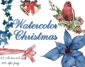 Digital Watercolor Christmas clip art, 24 elements, new year Digital Collage, printable Digital Scrapbooking, Instant Download, clip 17