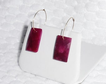 "CERTIFIED 34 cts Natural Octagon cut Red Ruby gemstones, 14kt yellow gold 3/4"" hoop Earrings"