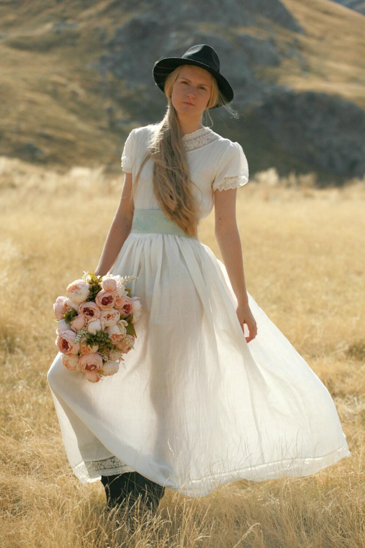 Maxikleid aus Leinen rustikal Land und Boho Hochzeitskleid