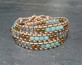 3 rounds - hematite amazonite gemstones and leather wrap bracelet