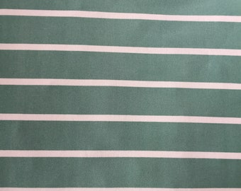Mint and Ivory Stripe, Dress Fabric, By the yard