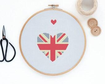 London Heart Union Jack - Modern cross stitch pattern PDF - Instant download